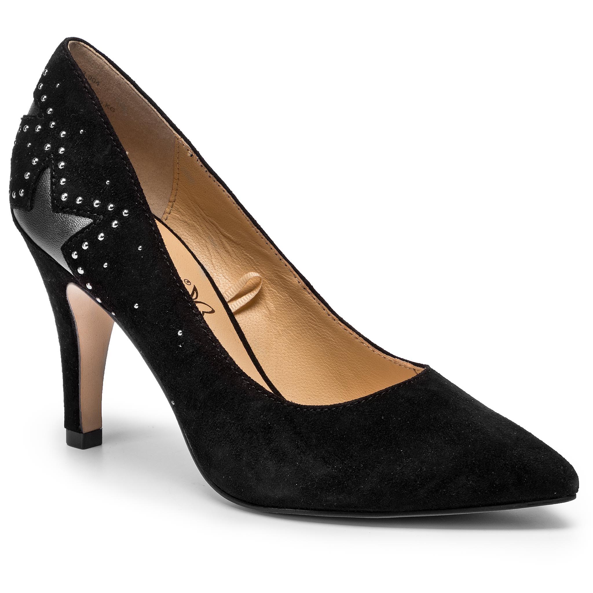 Pantofi cu toc subțire CAPRICE - 9-22405-23 Black Suede 004