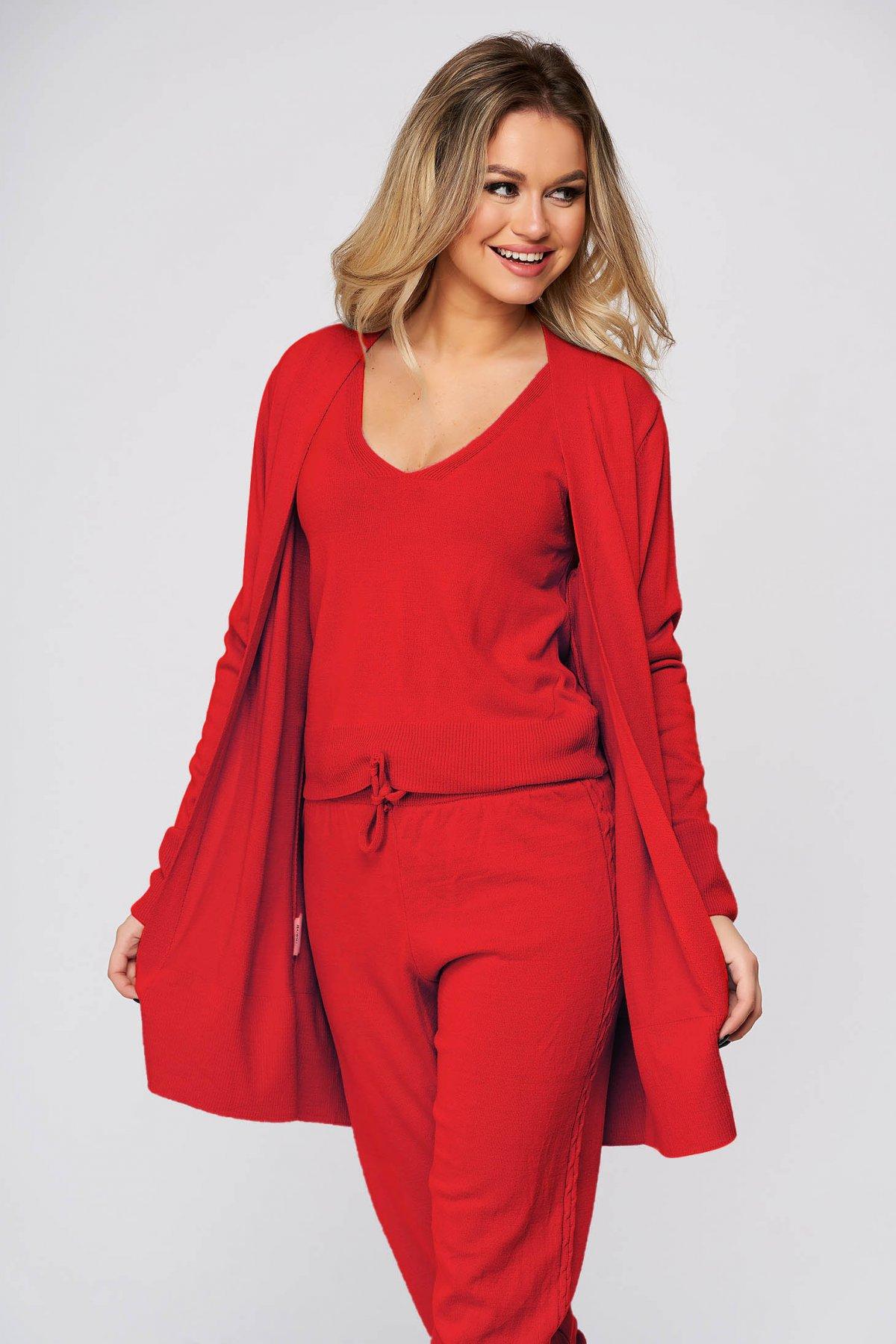 Trening dama SunShine rosii casual din material tricotat