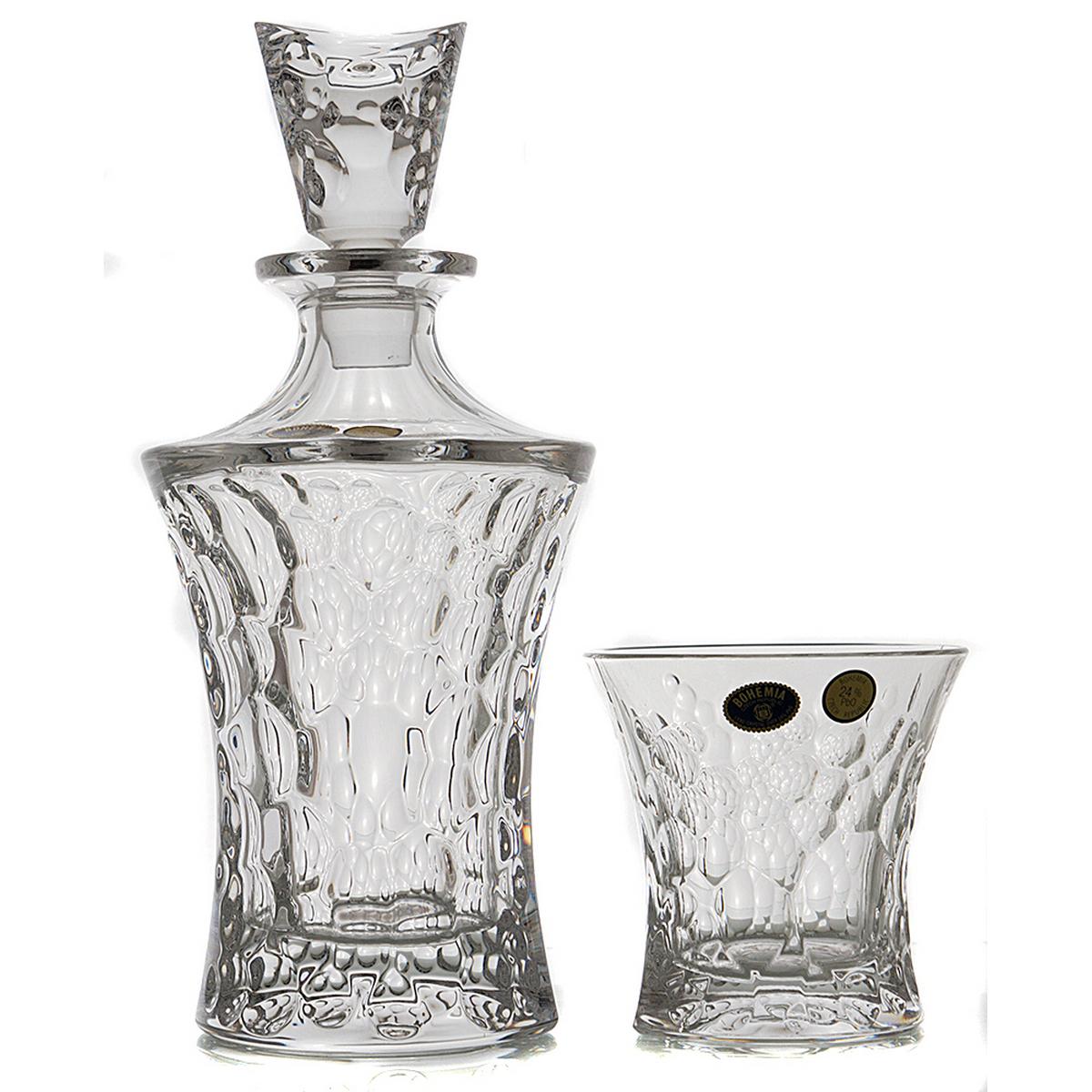 MOLECULE Set 6 pahare si decantor cristal Bohemia whisky