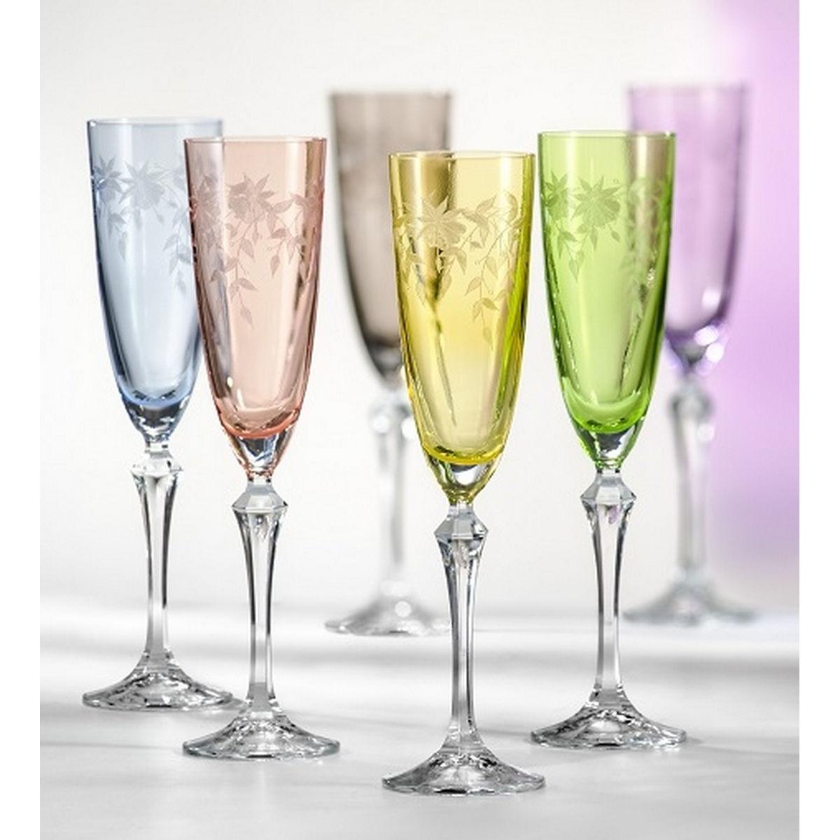 FLORAL Set 6 pahare cristalin sampanie 200 ml