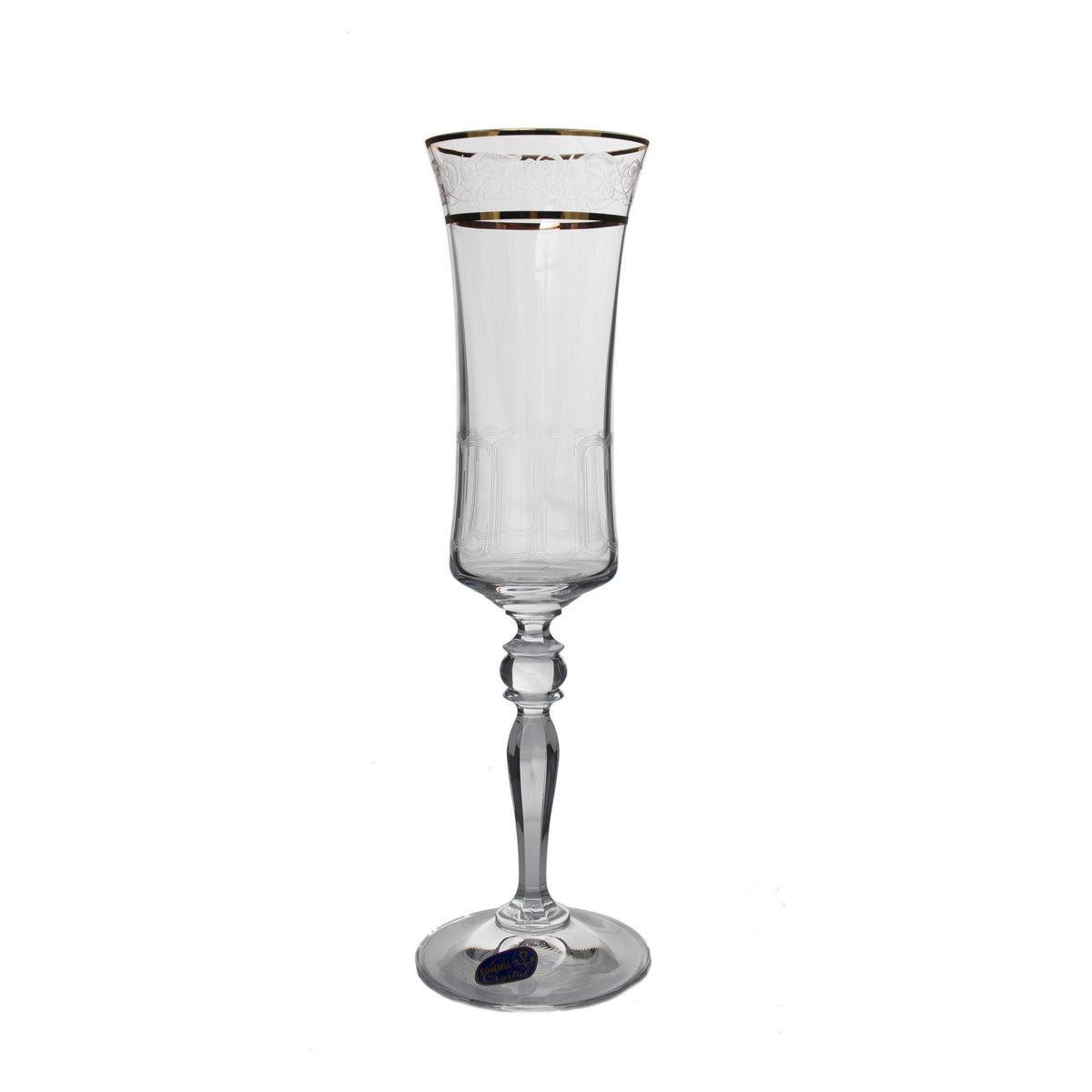 GRACE Set 6 pahare cristalin decor aur sampanie 190 ml