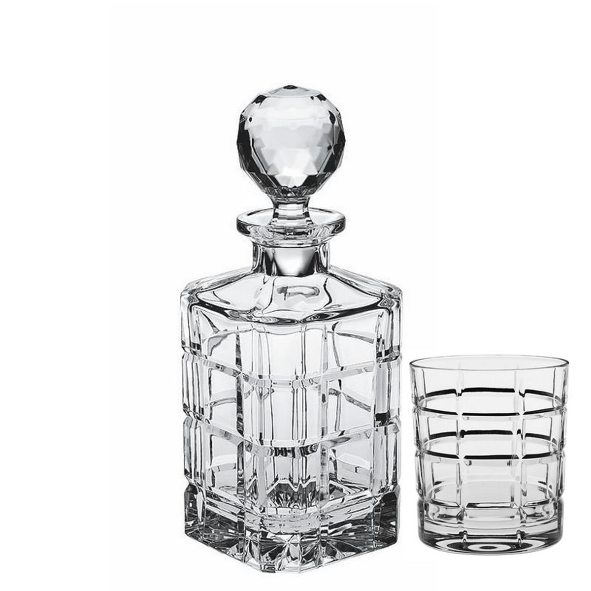 SQUARE Set 6 pahare si decantor cristal Bohemia whisky