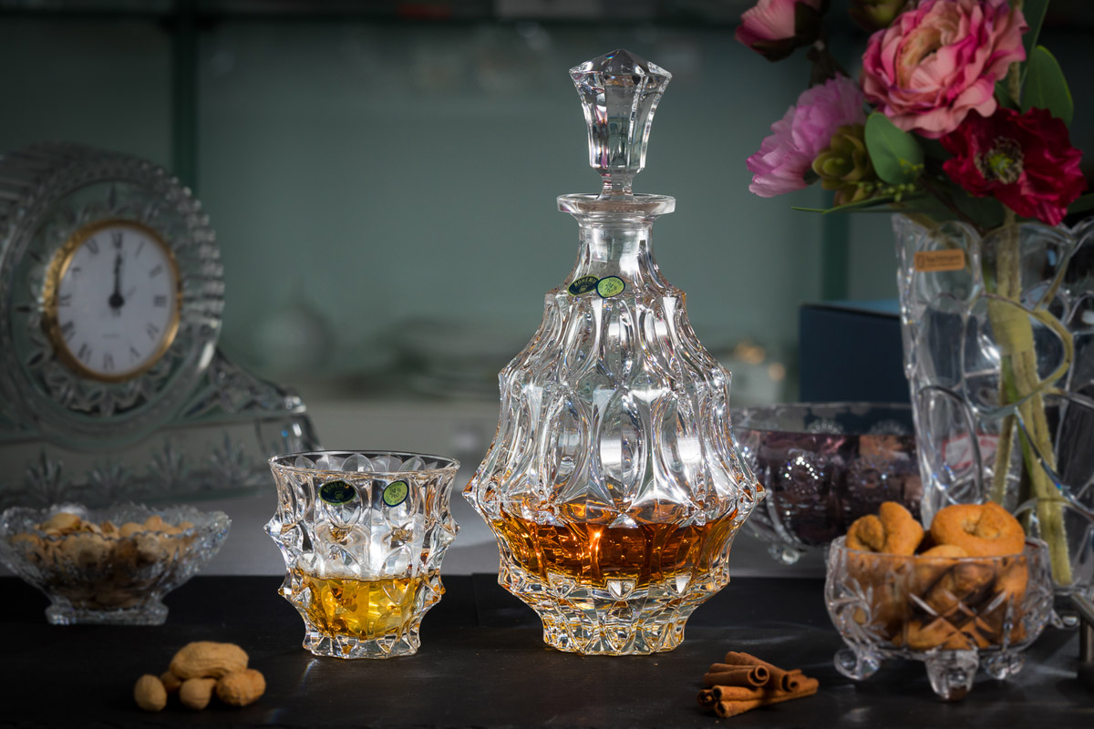 FORTUNE Set 6 pahare si decantor cristal Bohemia whisky