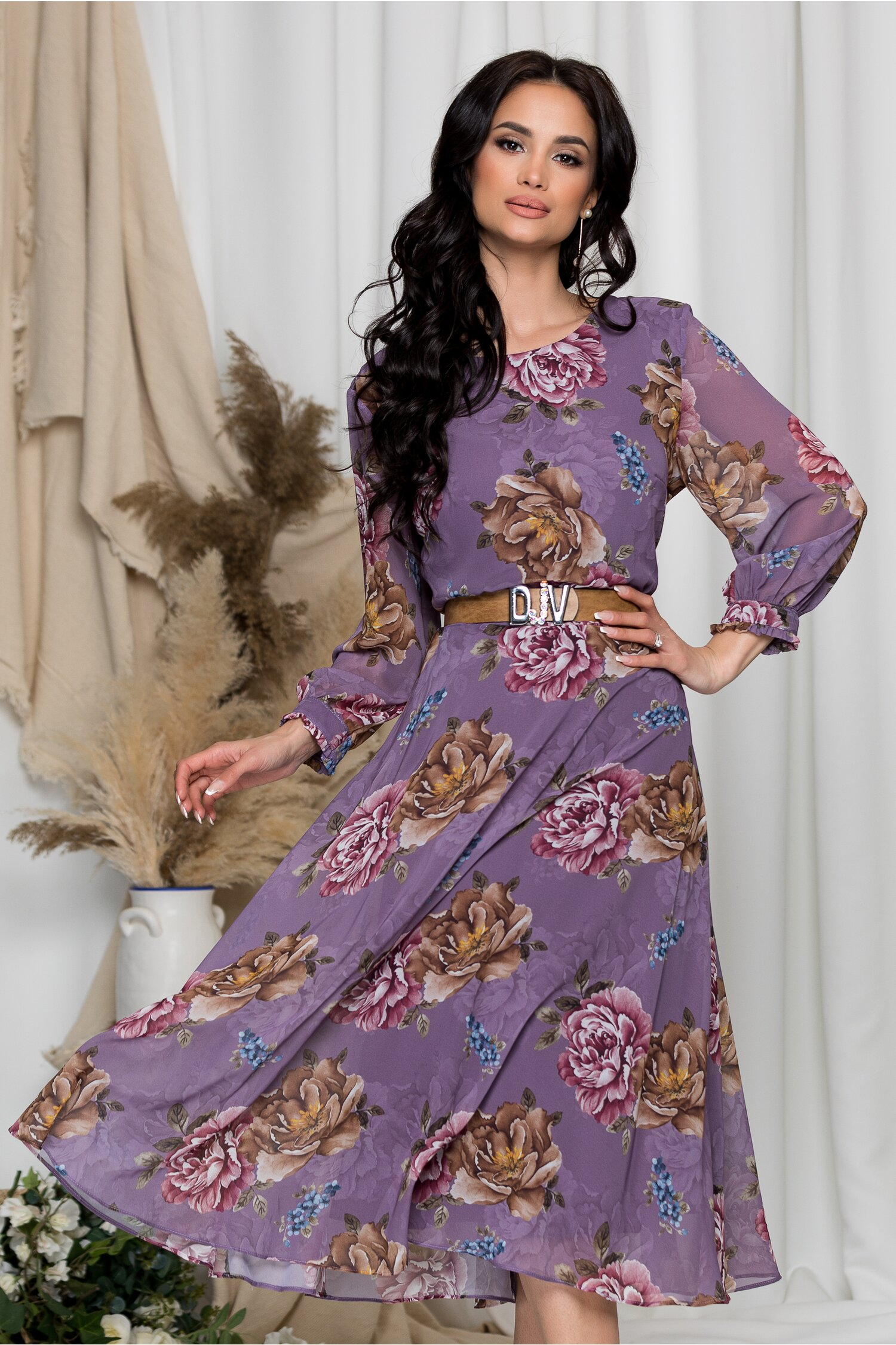 Rochie Vera lila cu imprimeuri florale maro